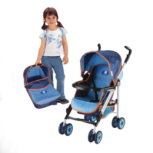 oval pipe stroller with carry cot & food tray