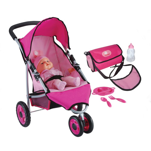 13mm pipe three wheel stroller with 36cm doll and accessories