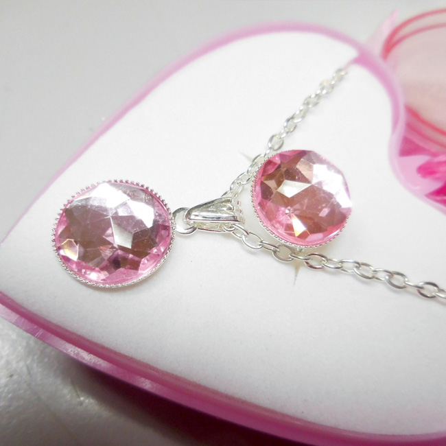 Necklace and Ring Jewelry set in heart shape box_